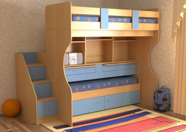 Двухъярусные кровати Bibu