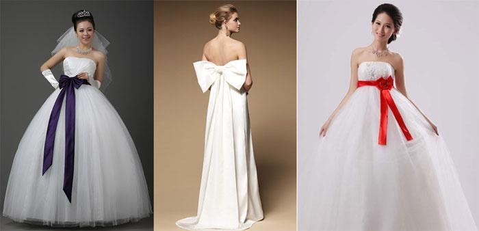 Платье на свадьбу для беременной: бант