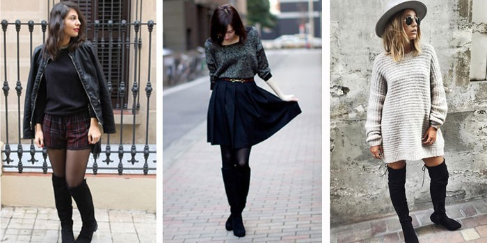 Черные ботфорты-чулки с шортами, юбкой и платьем