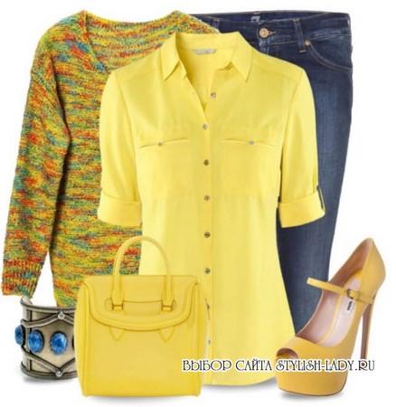 С чем носить желтые туфли, фото