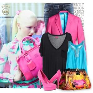 Голубой и розовый - цвета для блондинок