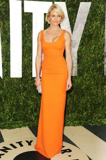длинное платье в пол оранжевого цвета