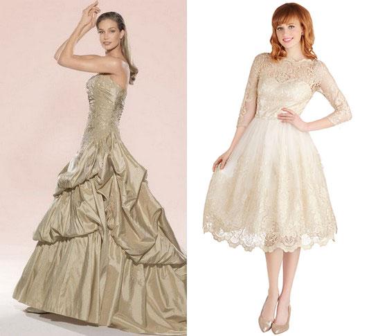 Бежевые свадебные платья и бежевые туфли