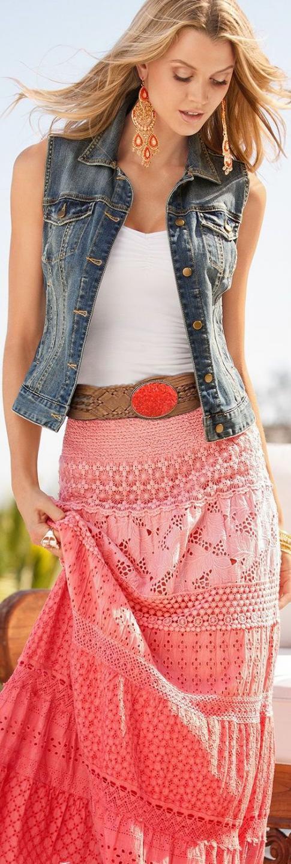 бохо юбка джинсовая жилетка