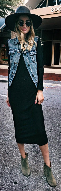черное платье джинсовая жилетка