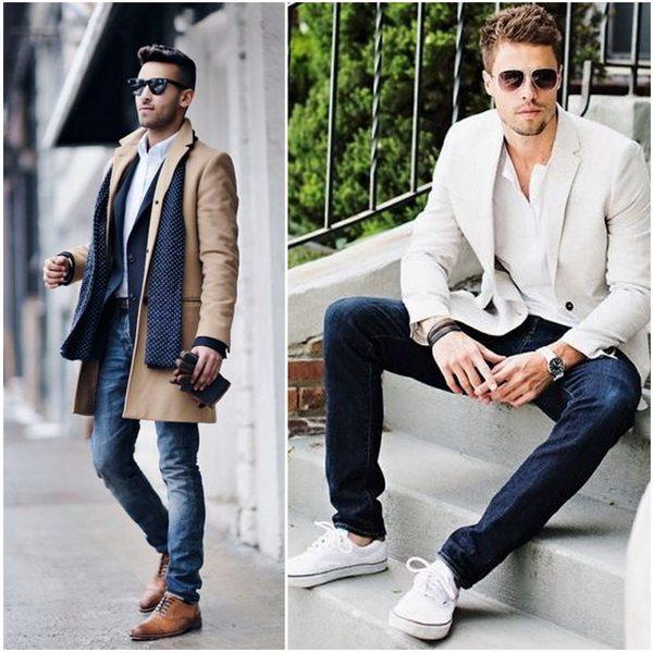 Мужчина может носить джинсы с классическим пиджаком или пальто