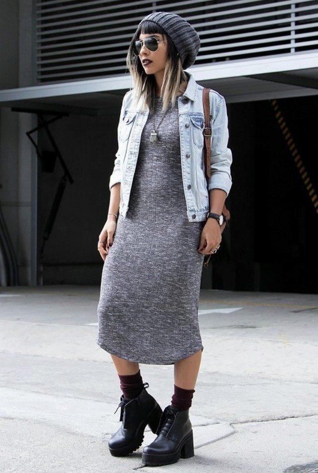 джинсовая жилетка шерстяное платье