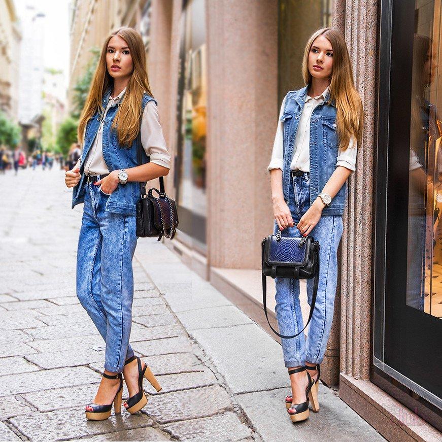 джинсы бананы жилетка
