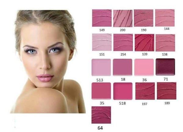 Палитра розовых оттенков помады