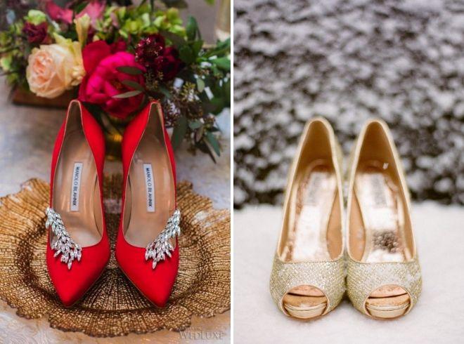 туфли к красному свадебному платью