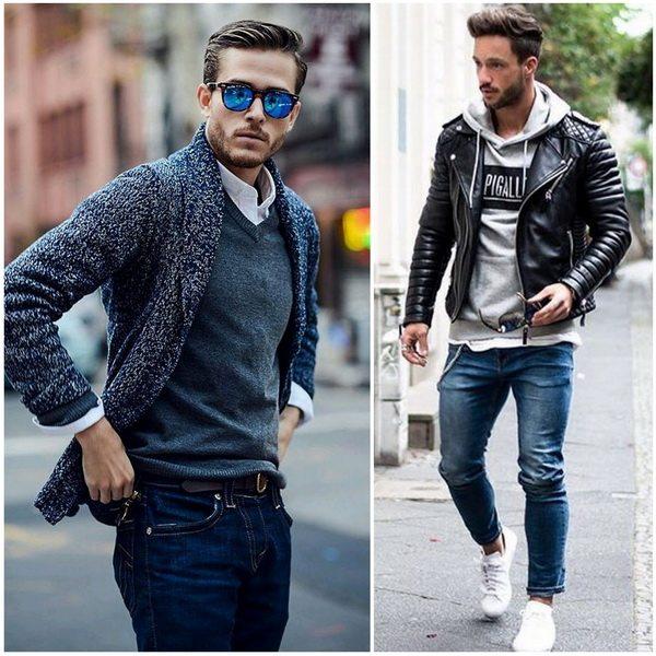 Мужские джинсы с рубашкой, вязаным жилетом и кардиганом, или с пайтой и кожаной курткой