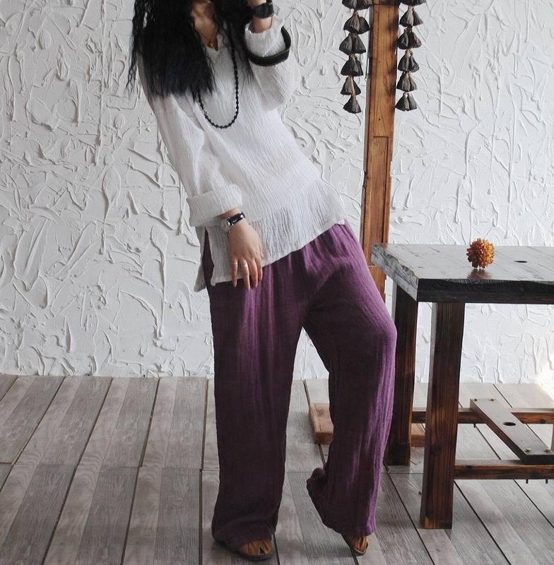 широкие фиолетовые брюки