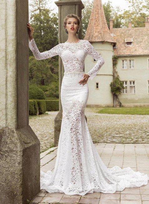 Свадебное платье рыбка с прозрачным кружевом