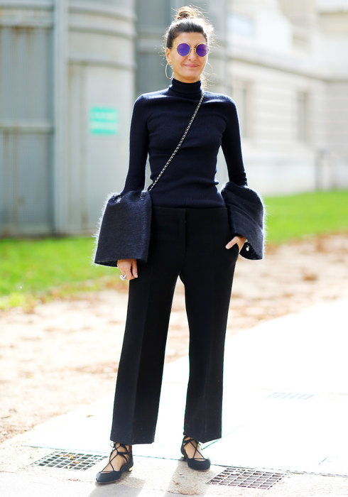 женские черные брюки счем сочетать фото