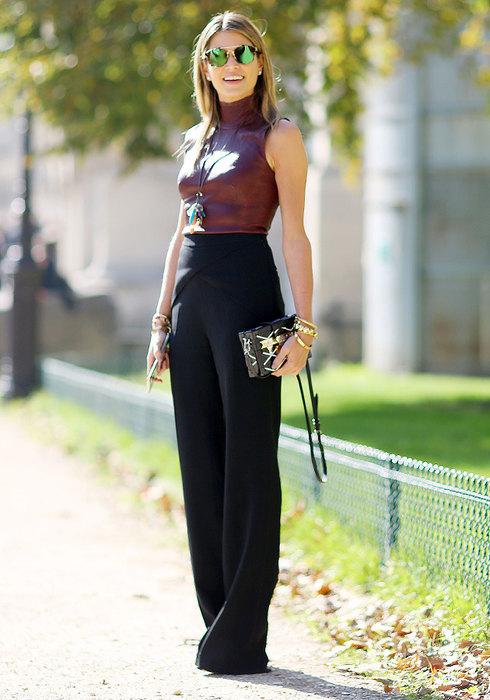 модные образы счерными брюками