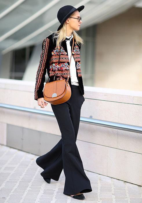 женские черные брюки стильные образы