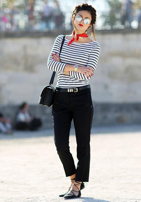 стильные образы счерными брюками фото