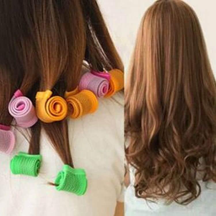 А так можно красиво завить кончики волос.