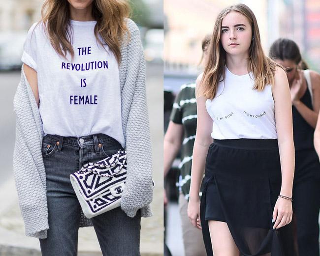 Девушка в белых футболках с надписью