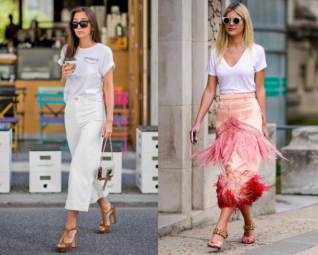 Девушки в простых белых футболках