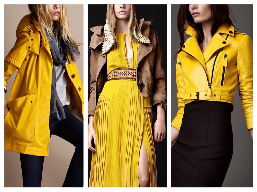 желтый цвет в коллекции Burberry