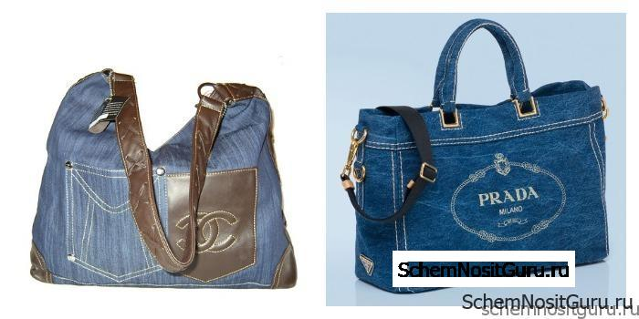 Брендовые джинсовые женские сумки