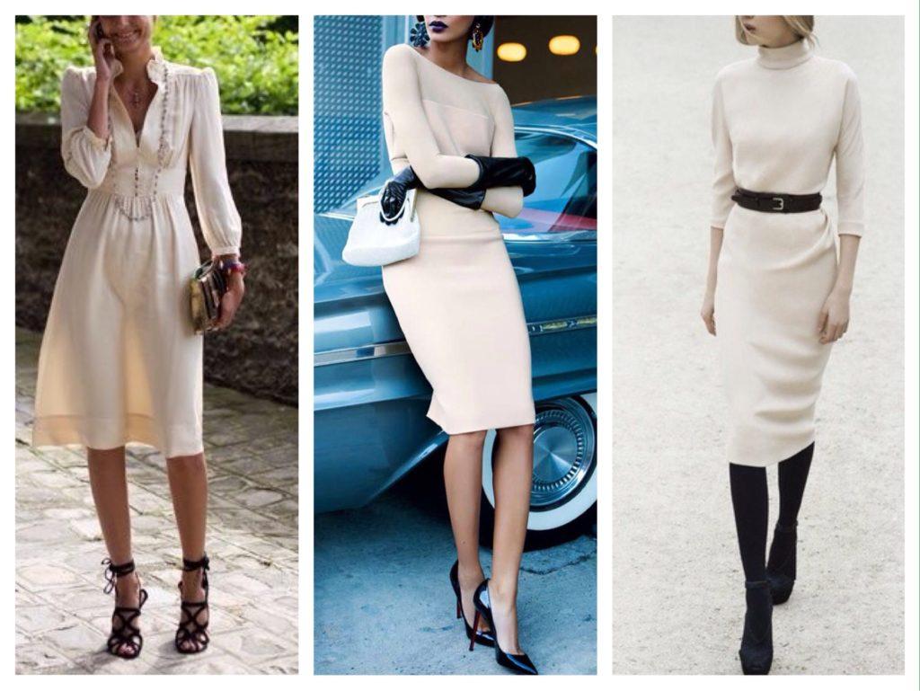 бежевое платье и черные туфли