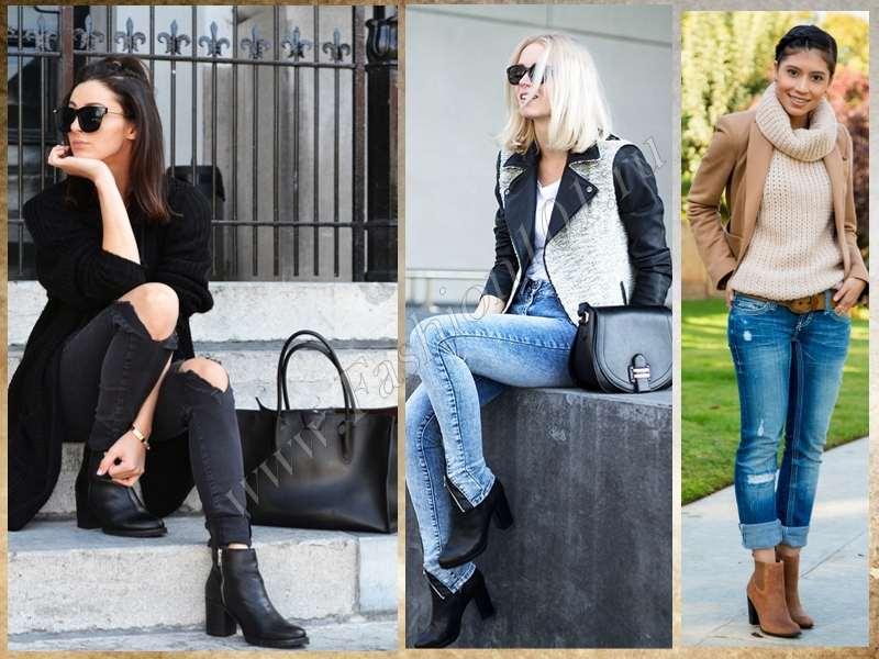 Ботильоны на толстом каблуке с джинсами