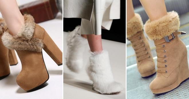 Ботильоны с мехом – самые модные модели и с чем их носить?