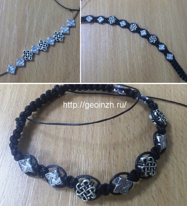 браслет с металлическими бусинами
