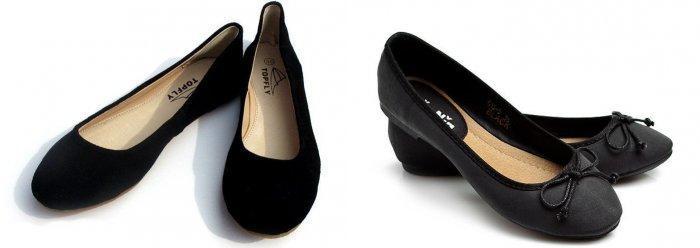 Черные балетки из замши и кожи