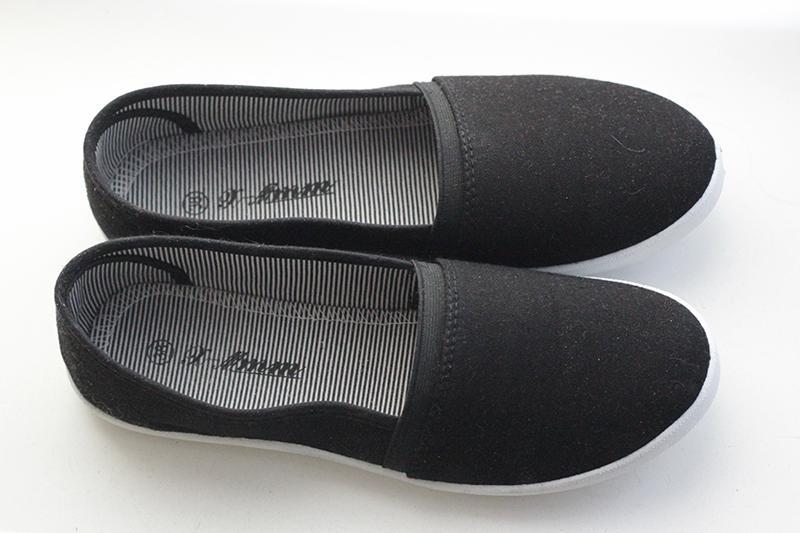 Черные балетки с тканевым верхом