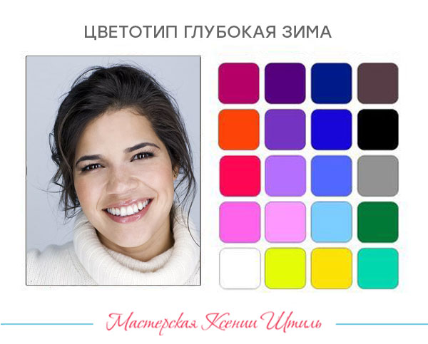 палитра оттенков для цветотипа глубокая (темная) зима