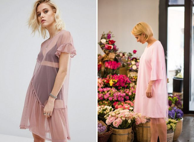 розовое платье футболка с фатином