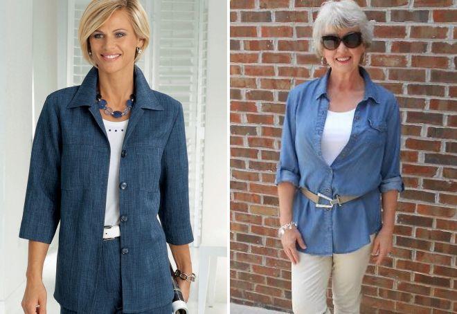 джинсовый кардиган для женщин после 50
