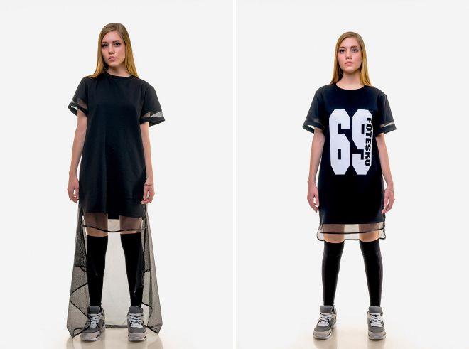платье футболка с сеткой