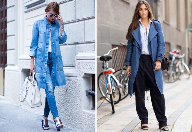 с чем носить джинсовое пальто