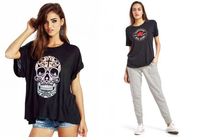 женские черные футболки с принтом