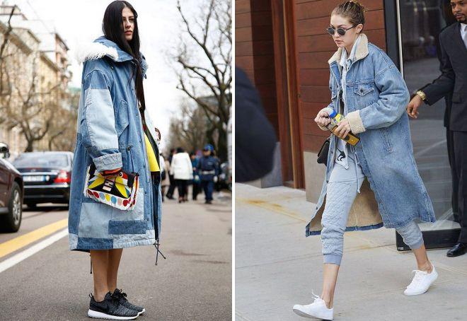 лук с джинсовым пальто