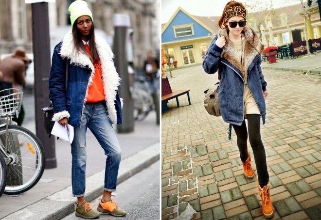 зимние джинсовые пальто