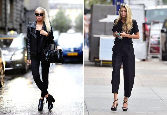 Две фотографии девушек в черных брюках и темной футболке