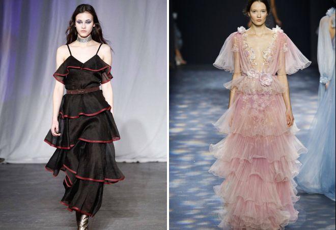 платья с рюшами и воланами