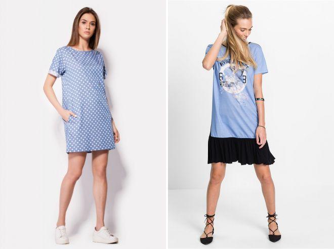 трикотажное платье футболка