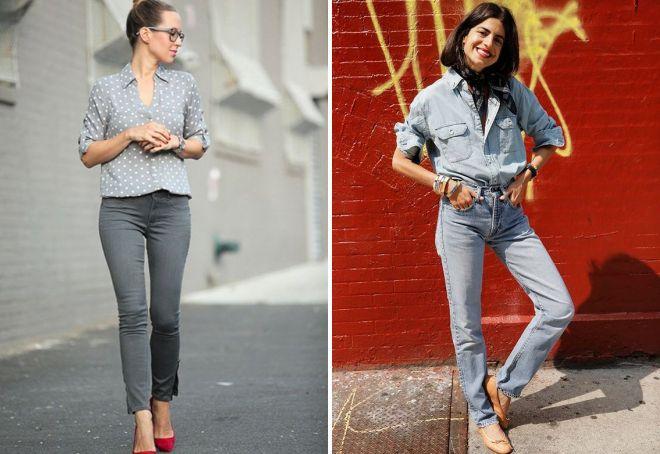 модные балетки с джинсами