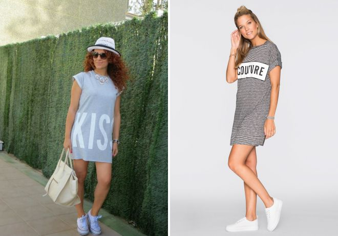 платье футболка с кроссовками с чем носить
