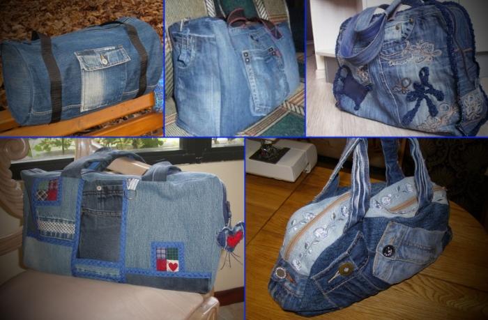 Разные варианты дорожных сумок, сделанных из подручных материалов