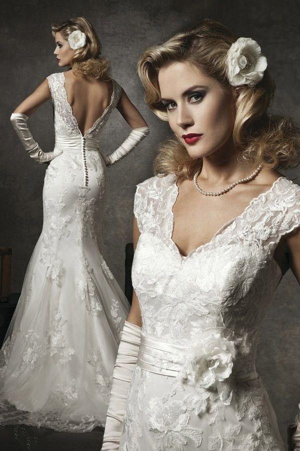 кружевное свадебное платье рыбка - аксессуар перчатки 1