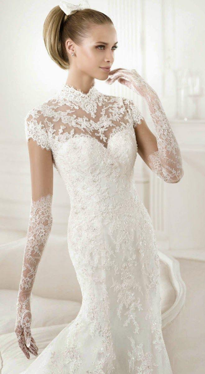 кружевное свадебное платье рыбка - аксессуар перчатки