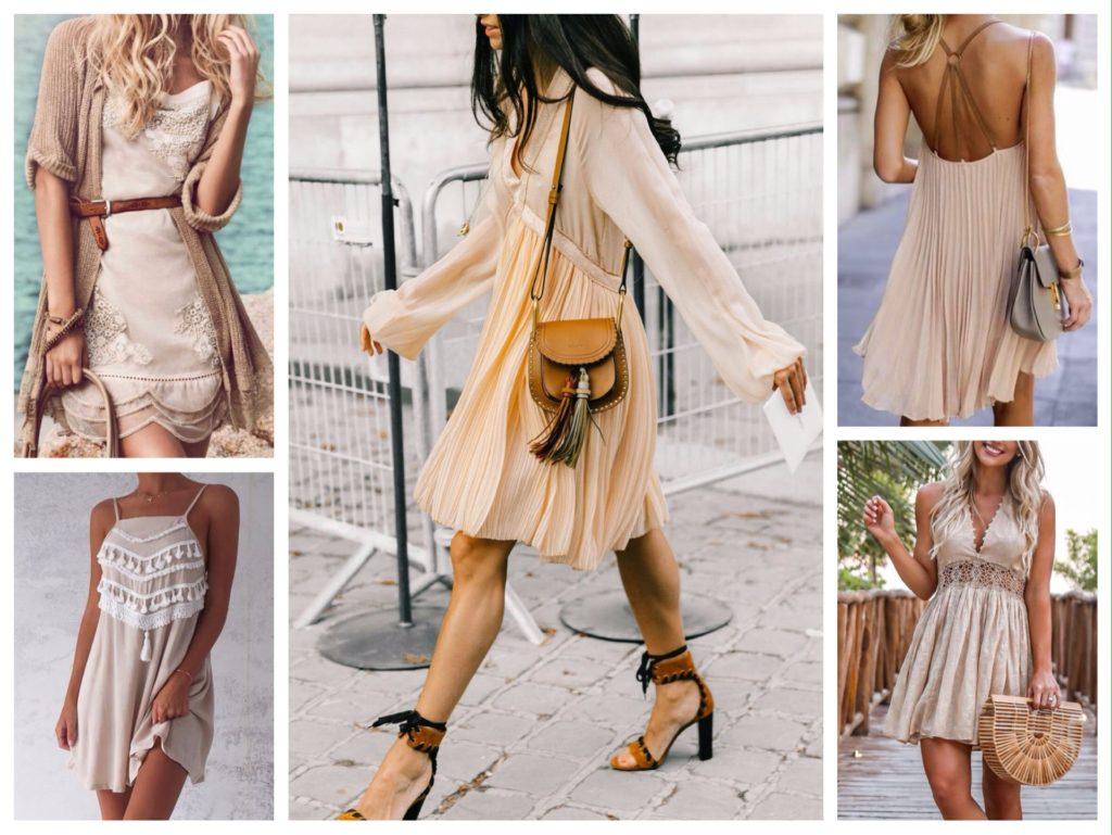 летние бежевые платья