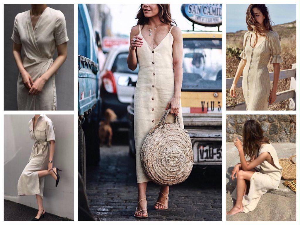 летние модели платьев из льна